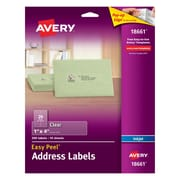 "Avery® 18661 Clear Inkjet Address Labels with Easy Peel®, 1"" x 4"", 200/Box"