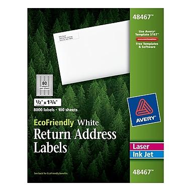 Avery® 48467 EcoFriendly White Inkjet/Laser Return Address Labels 1/2