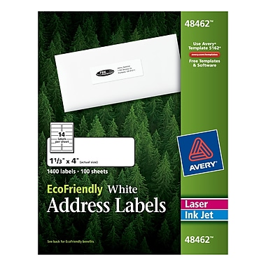 Avery® 48462 EcoFriendly White Inkjet/Laser Address Labels, 1-1/3