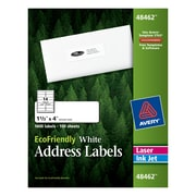 "Avery® 48462 EcoFriendly White Inkjet/Laser Address Labels, 1-1/3"" x 4"", 1,400/Box"