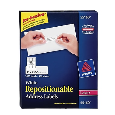Avery® 55160 Repositionable White Laser Address Labels 1