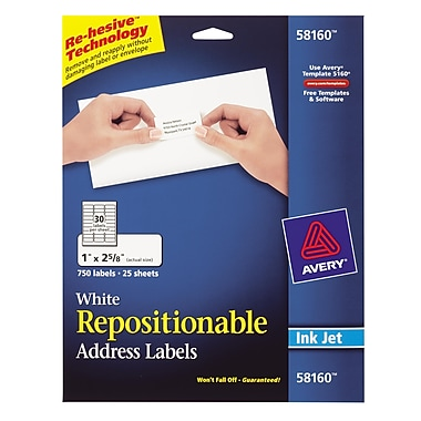 Avery® 58160 Repositionable White Inkjet Address Labels 1