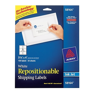 Avery® 58164 Repositionable White Inkjet Shipping Labels 3-1/3