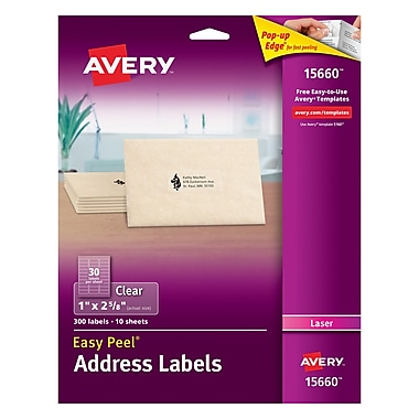 Avery® 15660 Clear Laser Address Labels with Easy Peel®, 1