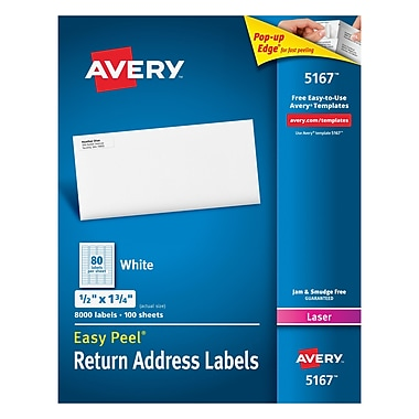 Avery Laser Return Address Labels with Easy Peel, 1/2