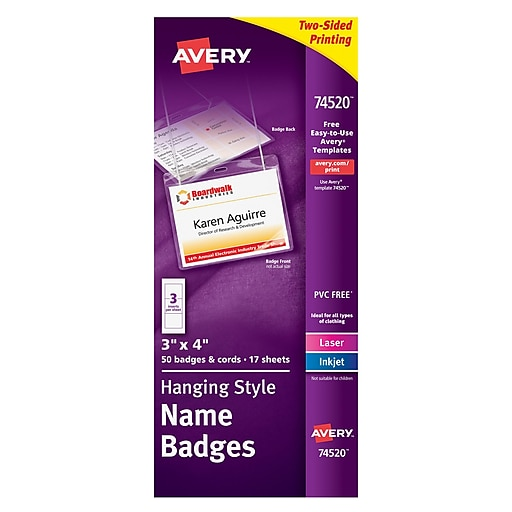Avery® AVE74520 Top-Loading Neck Hanging Style Name Badges | Staples