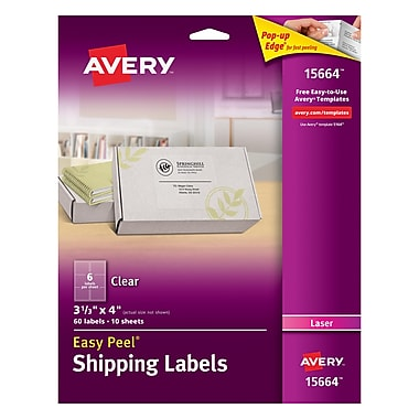 Avery® 15664 Clear Laser Shipping Labels with Easy Peel®, 3-1/3