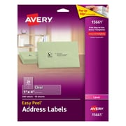 "Avery® 15661 1"" x 4"" Clear Laser Address Labels with Easy Peel®, 200/Box"