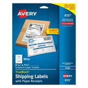 "Avery® 8127 White Inkjet Shipping Labels with Paper Receipt, 5-1/16"" x 7-5/8"", 25/Box"