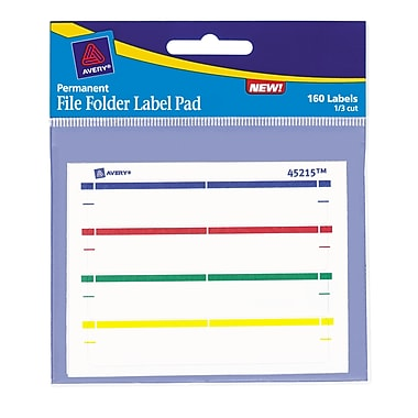 Avery® Permanent File Folder Label Pads, Assorted Colors, 160/Pack
