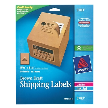 Avery 5663 Template Download Avery 5783 Brown Kraft Inkjet Laser