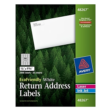 Avery® 48267 EcoFriendly White Inkjet/Laser Return Address Labels 1/2