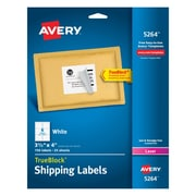 "Avery® 3-1/3"" x 4"" Laser Shipping Labels with TrueBlock, White, 150/Box (5264)"