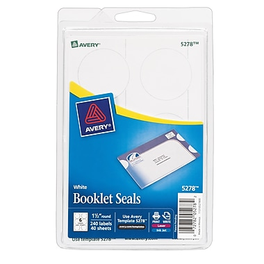 Avery® 5278 Print-or-Write White Mailing Seals, 1-1/2