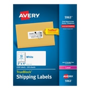 "Avery 2"" x 4"" Laser 5963 Shipping Labels White with TrueBlock™, 2,500/Box"