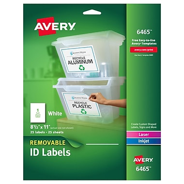 Avery® 6465 Removable Inkjet/Laser Labels, 8-1/2