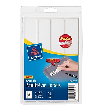 Avery® 5429 White Erasable ID Labels, 7/8