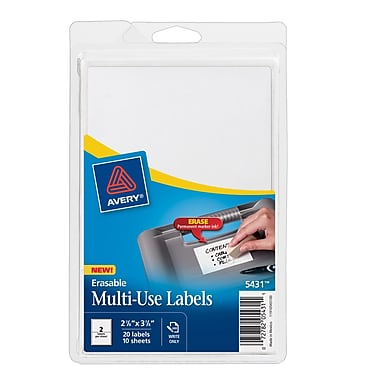 Avery® 5431 White Erasable ID Labels, 2 7/8
