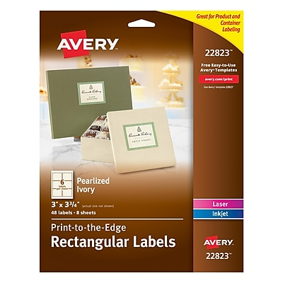 Avery Print-to-the-Edge Pearlized Ivory Rectangle Labels, 3