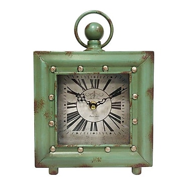 Ashton Sutton Quartz Analog Case Table Clock with Antique Green Finish (MZBG014)