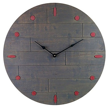 Cray Cray Supply Rustic Gray Clock with Red Numeral Marks Large (CRYC078)