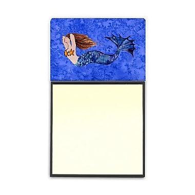 Carolines Treasures Brunette Mermaid On Blue Sticky Note Holder (CRLT80921)