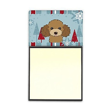 Carolines Treasures Winter Holiday Chocolate Brown Poodle Sticky Note Holder (CRLT84734)