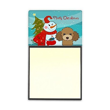 Carolines Treasures Snowman With Chocolate Brown Poodle Sticky Note Holder (CRLT86684)