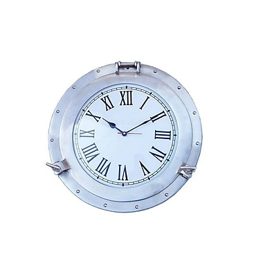 Handcrafted Decor Brushed Nickel Deluxe Class Porthole Clock, 17 in. (HDFM2943)