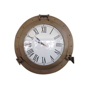 Handcrafted Decor  Antique Brass Decorative Ship Porthole Clock, 17 in. (HDFM3044)