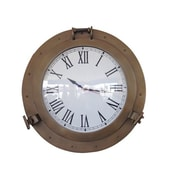 Handcrafted Decor  Antique Brass Decorative Ship Porthole Clock, 24 in. (HDFM3313)
