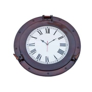 Handcrafted Decor  Antique Copper Decorative Ship Porthole Clock, 17 in. (HDFM3317)