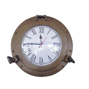 Handcrafted Decor  Antique Brass Decorative Ship Porthole Clock, 12 in. (HDFM3319)