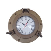 Handcrafted Decor  Antique Brass Decorative Ship Porthole Clock, 8 in. (HDFM3320)