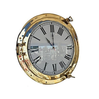 Handcrafted Decor Brass Deluxe Class Porthole Clock, 20 in. (HDFM3571)