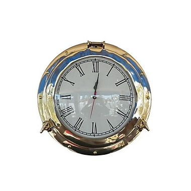 Handcrafted Decor Brass Deluxe Class Porthole Clock, 12 in. (HDFM3765)