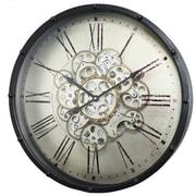 A&B Home  18 x 4.5 in. Roman Numeral Gear Wall Clock, Black (ABHM223)