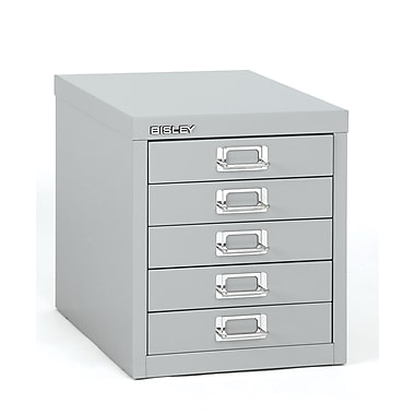 Bisley Five Drawer Steel Multidrawer, Silver, Letter/A4 (MD5-SL)