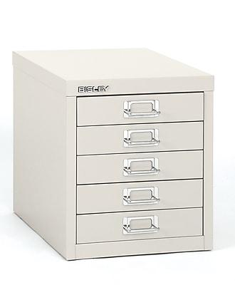 Bisley® 5-Drawer Steel Desktop Vertical File Cabinet, White, Letter/A4 (MD5-WH)