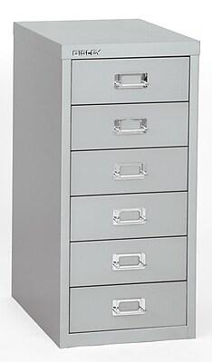 Bisley Six Drawer Steel Multidrawer, Silver, Letter/A4 (MD6-SL)