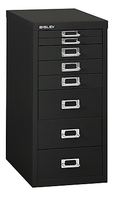 Bisley® 8 Drawer Steel Desktop Multidrawer Cabinet, Black