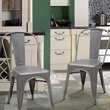 AdecoTrading Side Chair (Set of 2); Dark Gray