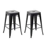 Belleze 24'' Bar Stool (Set of 2); Black