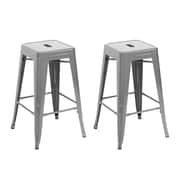 Belleze 24'' Bar Stool (Set of 2); Silver