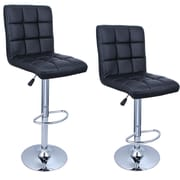 Belleze Adjustable Height Swivel Bar Stool (Set of 2); Black