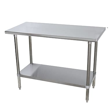 Advance Tabco Heavy Duty Height Adjustable Stainless Steel Top Workbench; 35.5'' H x 48'' W x 24'' D