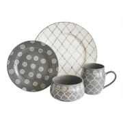 Baum Moroccan 16 Piece Dinnerware Set, Service for 4; Gray