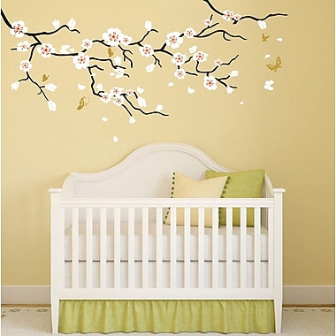 Pop Decors Cherry Blossom Tree Branch Wall Decal; Black, White, Orange Red, Gold