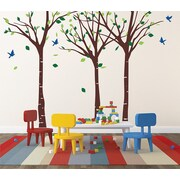 Pop Decors Tree Forest w/ Fying Birds Wall Decal; Brown, Green & Blue
