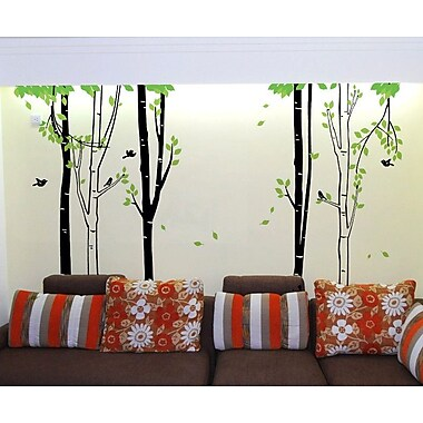 Pop Decors Birch Tree Forest Wall Mural; Grey and Green